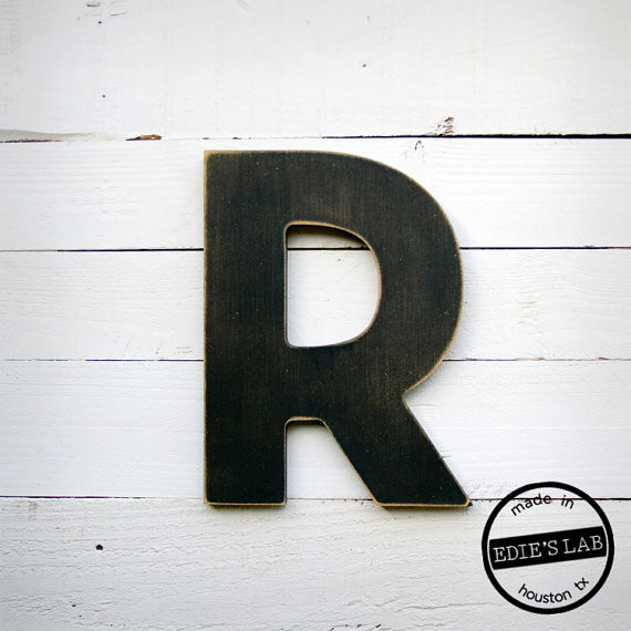 distressed wall decor by midcentury architectural style wood letter distressed wall decor - Letter Decor