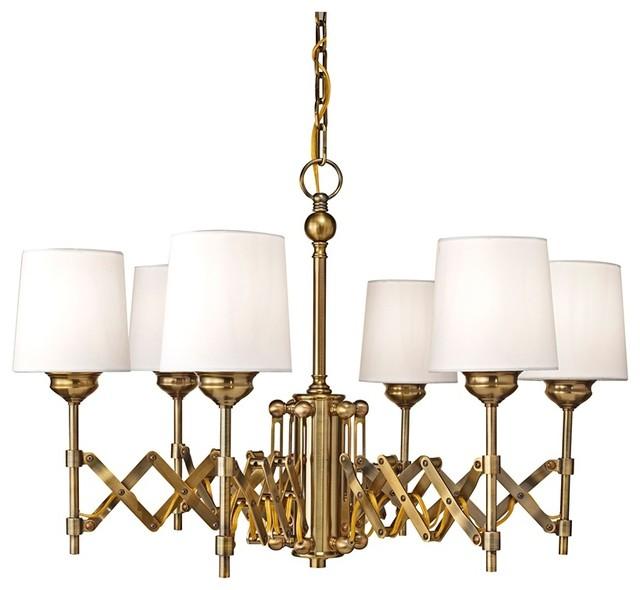 Murray Feiss Chandelier 6 Light: Industrial Feiss Hugo 6-Light Expandable Bali Brass
