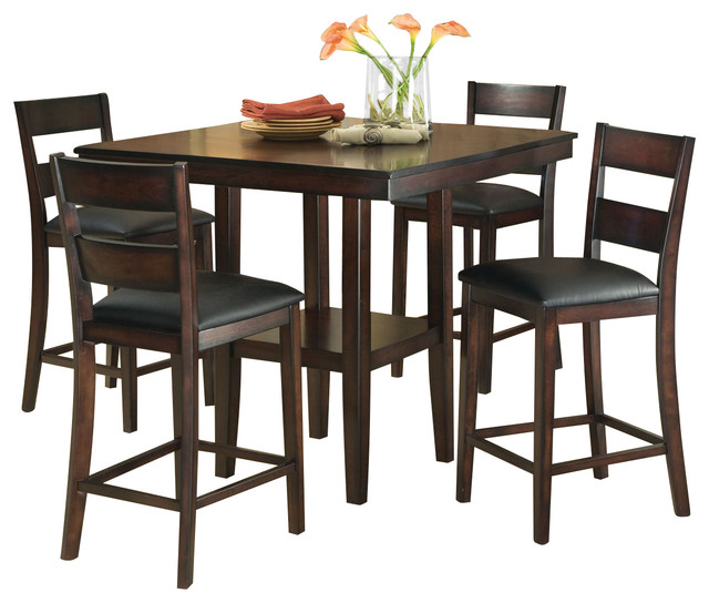 pendleton 5 piece counter table dining set in dark cherry images