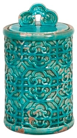 Kendall teal ceramic canister jar medium transitional for Hearth and home designs canister set
