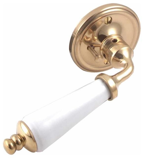 Door Levers White Porcelain Door Lever Privacy Set 2 3/8 - Traditional - Door Hardware - by The ...