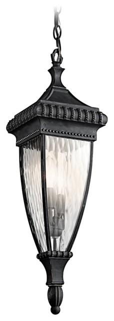 "Traditional Venetian Rain Black 25"" High Outdoor Hanging Light traditional-outdoor-lighting"