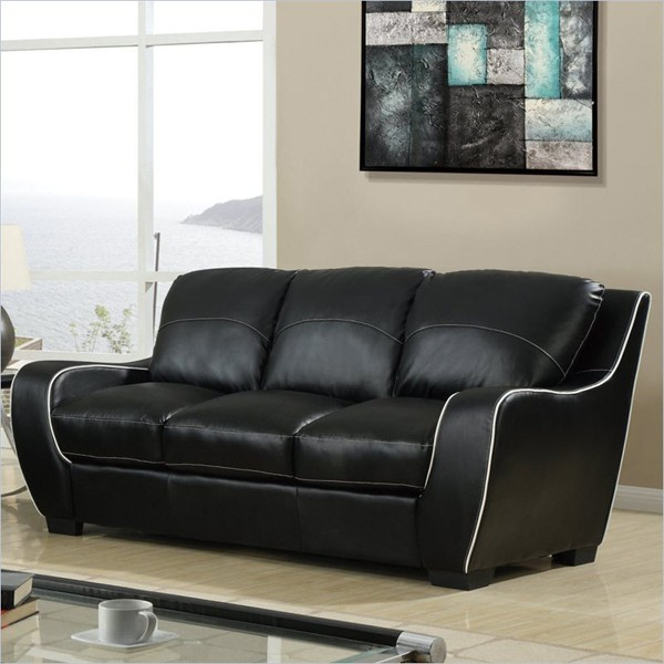 8080 Sofa In Black With White Welt