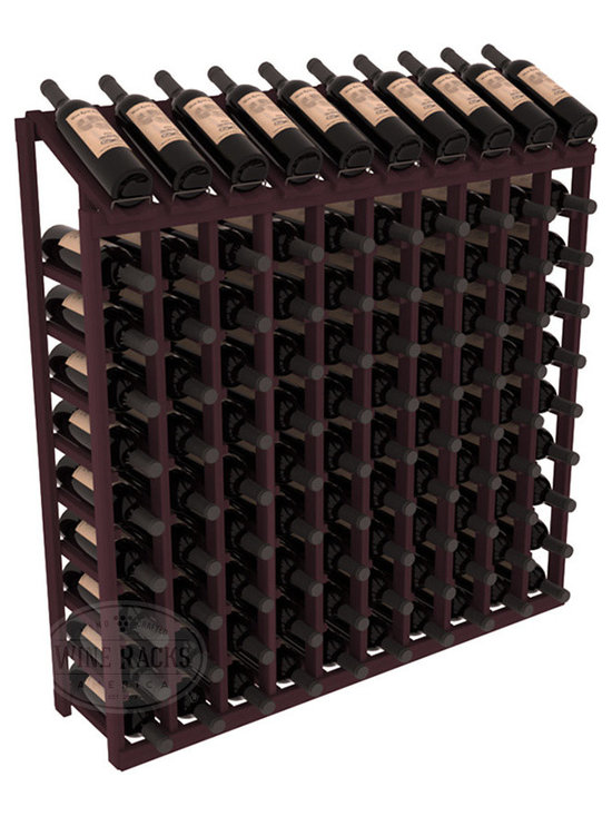 Wine Racks America - 100 Bottle Display Top Wine Rack in Redwood, Burgundy Stain - Make your top 10 vintages focal points of your cellar or store. Our wine cellar kits are constructed to industry-leading standards. You'll be satisfied. We guarantee it. Display top wine racks offer ample storage below a presentation row. Great as a stand alone unit or paired with other modular racks from our product lineup.