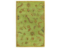 Dynasty Collection Persian Garland Sage Green Multi Floral Wool Area Rug traditional-rugs