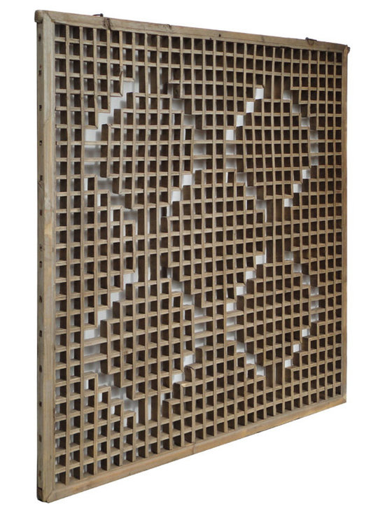 Chinese Antique Square Carving Window Screen Panel - This is a Chinese antique window panel which is made of solid elm wood. This piece is over hundred years old and it was used as window panel. It is double sides see through panel. Right now, it can be used as wall screen panel.