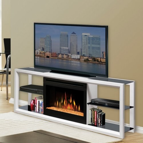 Dimplex Novara White Entertainment Center Electric Fireplace Contemporary Media Storage By