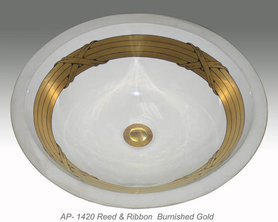 "Hand Painted Undermounts by Atlantis Porcelain - ""REED & RIBBON"" Shown on AP-1420 white Monaco Medium undermount 17-1/4""x14-1/4"".Available on burnished gold or platinum and bright gold or platinum on any of our sinks."