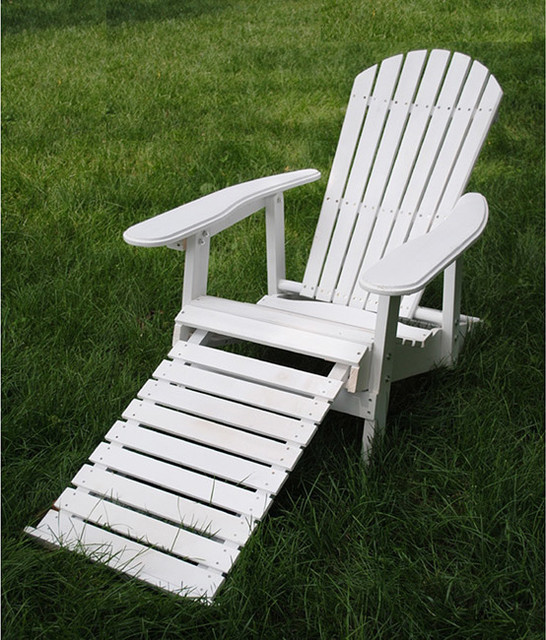 White Folding Adirondack Pull Out Footrest Chair Contemporary Adirondack
