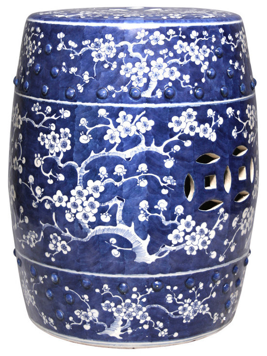 Blue & White Garden Stool with Plum Blosson - Emanating ancient beauty in its finely detailed design, this Blue and White Garden Stool with Plum Blossom Motif adds an allure of sophistication to any space. More than decorative this Garden Stool enhances your décor adding a touch of delicacy. Purchase multiple pieces for a truer effect.