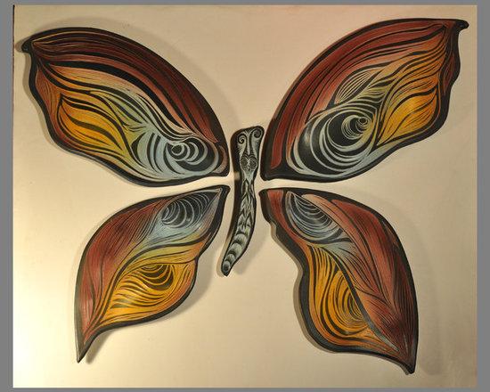 Butterfly tiles - Handmade, sgraffito-carved ceramic tile with custom backings for easy hanging.