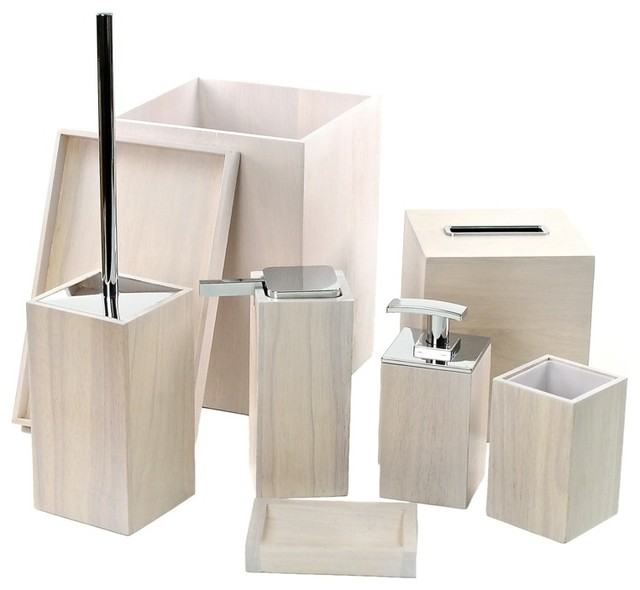 Wooden 8 piece white bathroom accessory set for Contemporary bathroom accessories