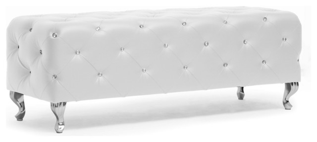 Baxton Studio Stella Crystal Tufted White Modern Bench contemporary-footstools-and-ottomans