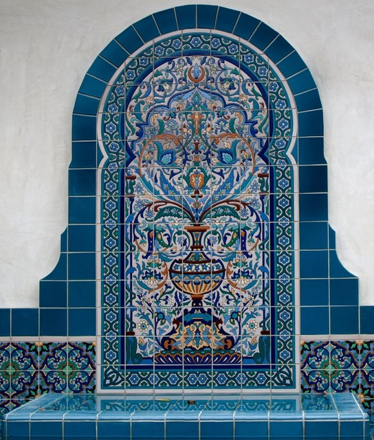Tile installations for Pools and Fountains mediterranean-outdoor-fountains-and-ponds