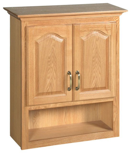 Richland Nutmeg Oak Bathroom Wall Cabinet with 2-Doors, 26.7-Inches by ...