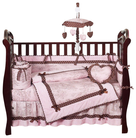 Pink Brown Toile 9 Piece Crib Bedding Set contemporary-bed-pillows