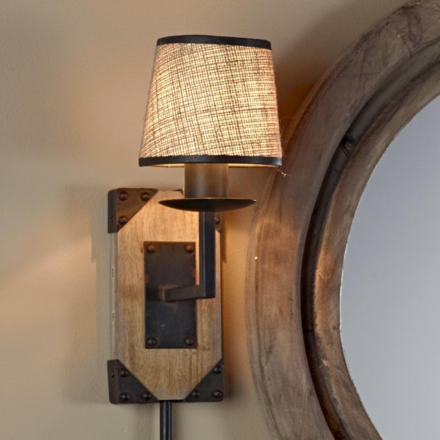 Rustic Wooden Wall Sconces : Wooden Block Rustic Sconce - 1 Lt - by Shades of Light