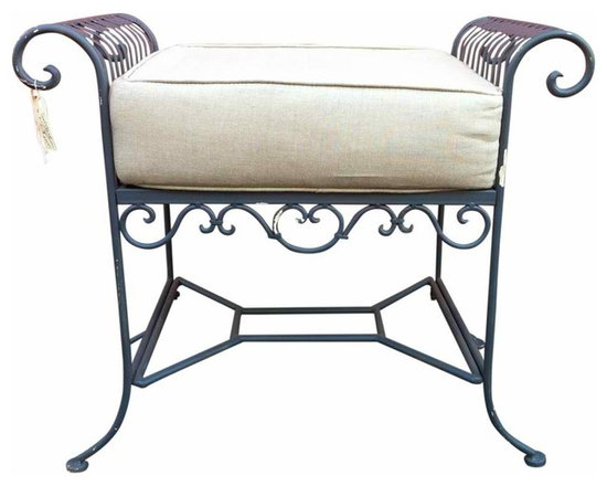 Vintage Iron Bench - Vintage iron bench, painted dove gray with custom linen cushion.