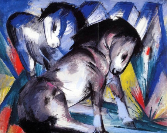 "Franz Marc Two Horses - 16"" x 20"" Premium Archival Print - 16"" x 20"" Franz Marc Two Horses premium archival print reproduced to meet museum quality standards. Our museum quality archival prints are produced using high-precision print technology for a more accurate reproduction printed on high quality, heavyweight matte presentation paper with fade-resistant, archival inks. Our progressive business model allows us to offer works of art to you at the best wholesale pricing, significantly less than art gallery prices, affordable to all. This line of artwork is produced with extra white border space (if you choose to have it framed, for your framer to work with to frame properly or utilize a larger mat and/or frame).  We present a comprehensive collection of exceptional art reproductions byFranz Marc."