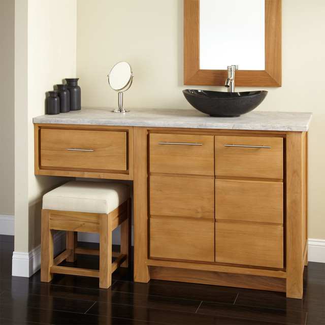 60 Venica Teak Vessel Sink Vanity With Makeup Area Contemporary Bat
