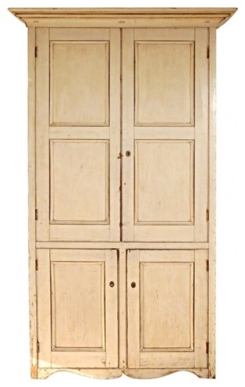 19thc Original Cream Painted Four Door Wall Cupboard From N.E. farmhouse-storage-units-and-cabinets