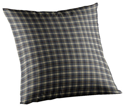 Blue Black Plaid Fabric Toss Pillow 16 x 16 Inch traditional-decorative-pillows