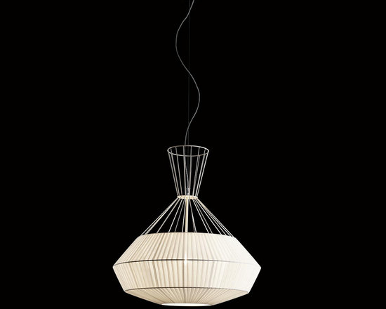 Lightology Collection - Net Pendant - Net Pendant features a metal powder coated thread structure in White with matching partially wrapped plisse fabric shade. One 100 watt 120 volt medium base incandescent bulb is required, but not included. 31.5 inch width x 31.5 inch height x 78 inch overall length.