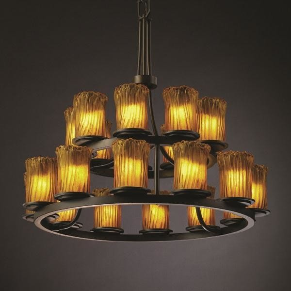 Justice Design GLA-8767-16-AMBR-DBRZ Dakota 21-Light 2-Tier Ring Chandelier chandeliers