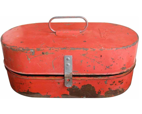 Anthes Industrial Tool Box - Love the oval shape of this red orange colored metal tool box. Embossed Anthes B103 on the lid with divided interior compartment. Easy to carry metal handle.