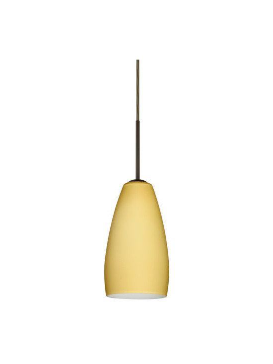 """Besa Lighting - Besa Lighting 1BC-1509VM Chrissy 1 Light Cord-Hung Mini Pendant - The Chrissy pendant features a softly radiused glass, that will gracefully blend into almost any decorating theme. Our Vanilla Matte glass is a light golden cased glass and opal inner layer. The orange glow has a low key harmonious display that exudes a warm mood. When lit the glass is vitalizing as well as stylish. The smooth satin finish on the outer layer is a result of an extensive etching process. This blown glass is handcrafted by a skilled artisan, utilizing century-old techniques passed down from generation to generation. The cord pendant fixture is equipped with a 10' SVT cordset and an """"Easy Install"""" dome monopoint canopy.Features:"""