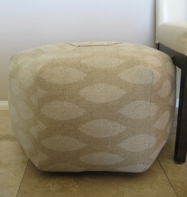 Ottoman Pouf Floor Pillow Natural Ikat White Beige by Aletafae modern ottomans and cubes