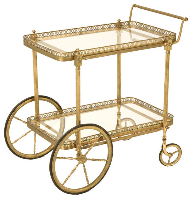 Vintage French Brass Tea or Bar Cart traditional bar carts