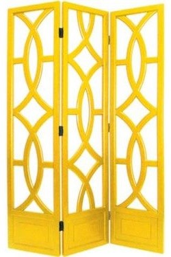 Charleston Yellow Three Panel Screen traditional-screens-and-room-dividers