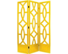 Charleston Yellow Three Panel Screen traditional-screens-and-wall-dividers