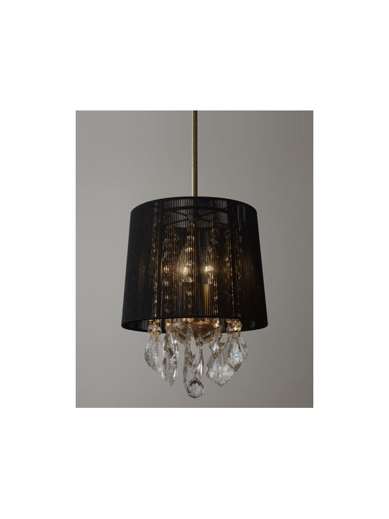 "Horchow - Christella Pendant - Dramatic decorative pendant features a black string shade and crystal accents. Made of polyester and crystal. Uses three 25-watt bulbs. 12""Dia. x 12""T. Imported."