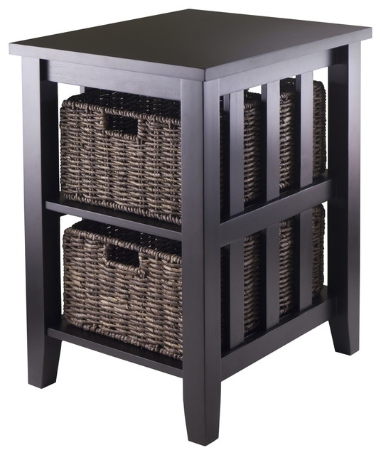 Morris Side Table with 2 Foldable Baskets transitional-side-tables-and-end-tables
