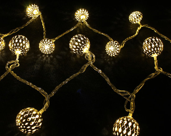 Christmas Home Decorations - Round Filigree LED Ornament Lights - These gorgeous filigree LED Ornament Light Strings will make your holiday decorations sparkle. Very classy!