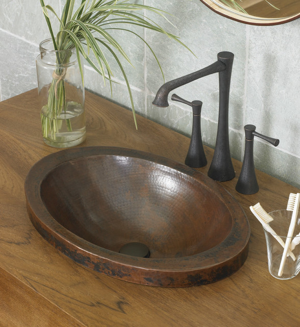 Hibiscus Antique Copper Bathroom Sink by Native Trails contemporary-bathroom-sinks