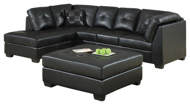 Black bonded leather upholstery sectional sofa with left for Bonded leather sectional sofa with chaise