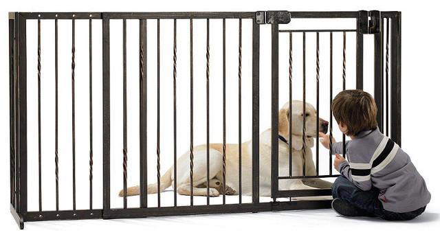 36-inch Freestanding Pet Gate with Walk-through Door traditional-pet-supplies