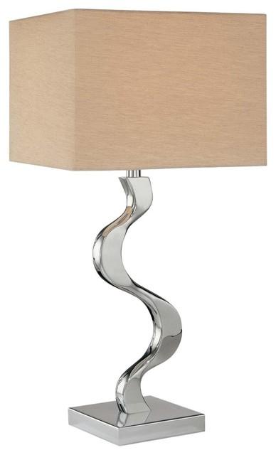 George Kovacs Grey Cross Silk Shade Table Lamp contemporary-table-lamps