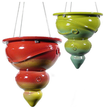 Contemporary Hanging Stoneware Planter - contemporary - indoor ...