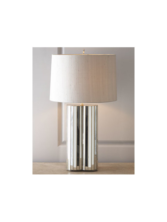 Horchow - Cloverleaf Mirror Lamp - Contemporary clover-leaf shaped lamp illuminates your space with subtle glamour. Handcrafted of antiqued mirror and metal. Turned-metal finial with polished-nickel finish. Silk dupioni drum shade; polystyrene backing. Switch on socket; uses one 60-...