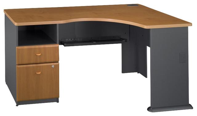 Bush Series A Expandable Single Pedestal Corner Desk in Natural Cherry transitional-desks