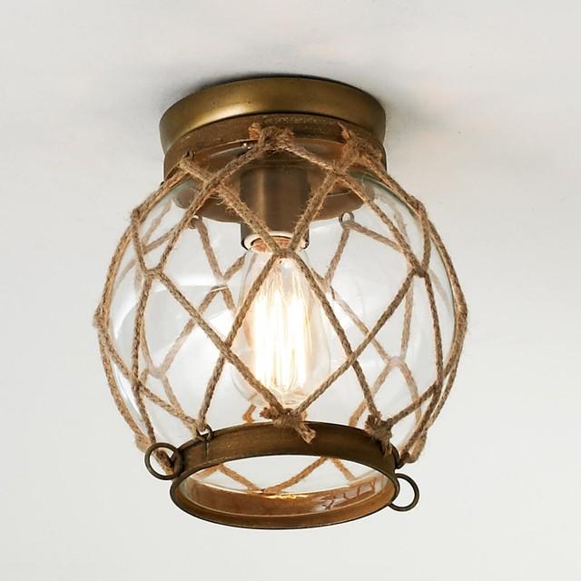 Jute Rope Lattice & Glass Globe Ceiling Light - Flush-mount Ceiling Lighting - by Shades of Light