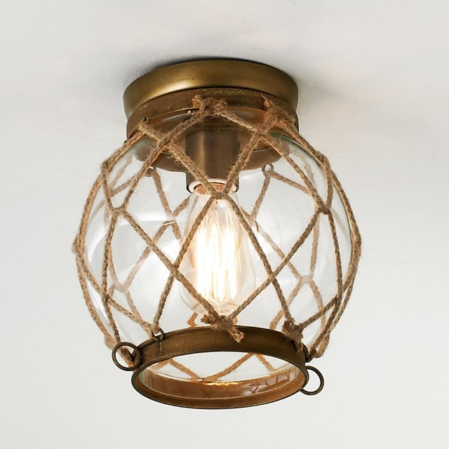 Jute Rope Lattice Amp Glass Globe Ceiling Light Flush
