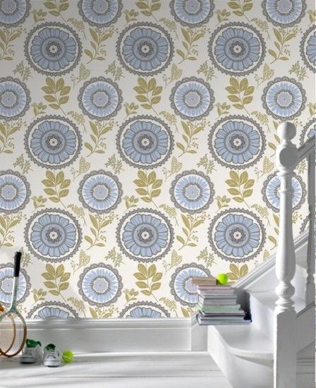 Amy Butler Lacework Blue Floral Wallpaper eclectic wallpaper