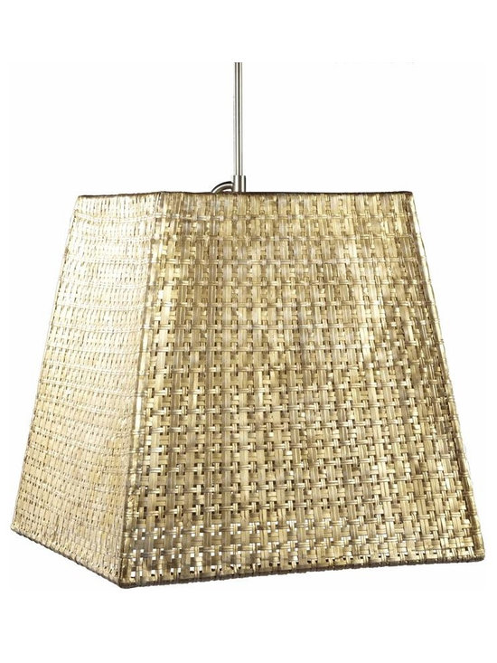 Seline Square Tapered Pendant, Metallic - Hand-woven aluminum, fashioned after a draped table, is finished in a subtle metallic patina. The Selene collection comes in four styles of shades each with UL approved brushed nickle pendant kit.