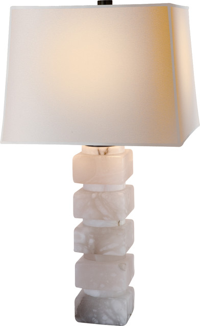 Square Chunky Stacked Table Lamp in Alabaster with Natural Paper Shade, Alabaste traditional-table-lamps