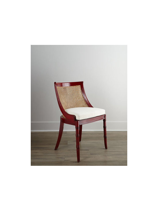 Horchow - Crimson Side Chair - An eclectic mix of wood, cane, and upholstery, this side chair brings an inviting plantation vibe to the room. Handcrafted of solid mahogany. Hand-carved, turned legs. Hand-painted finish. Hand-caned seat. Seat cushion, cotton burlap over polyfoam....